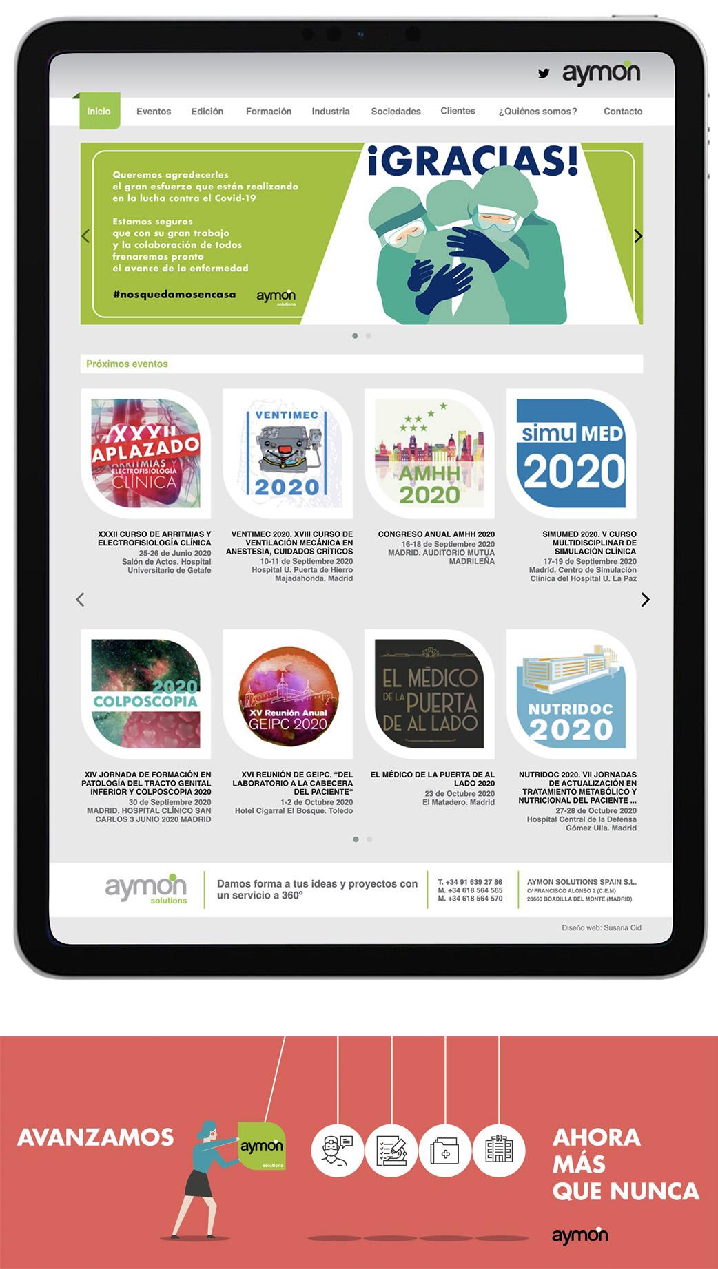 web de la plataforma de eventos médicos de aymon.es