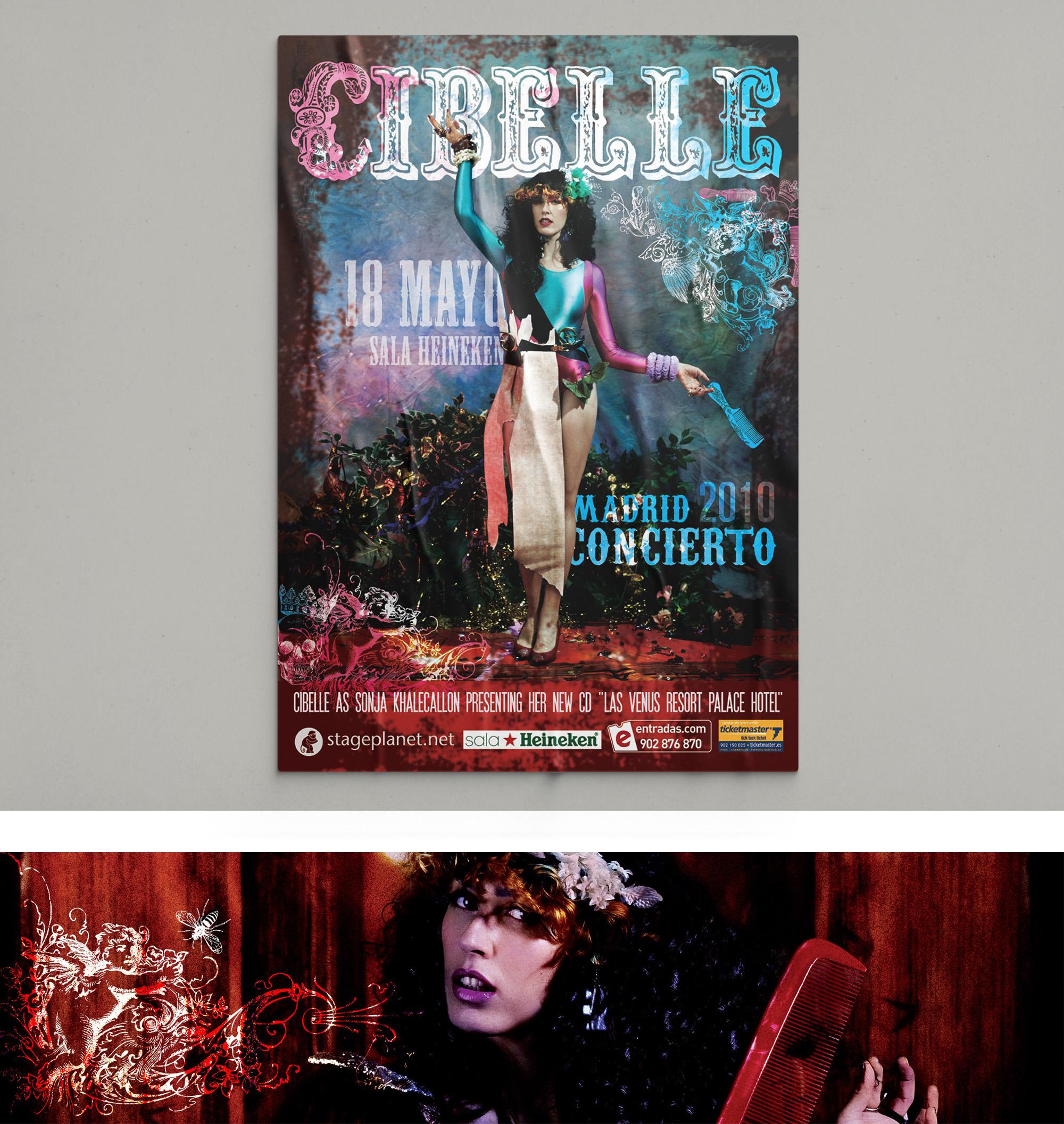 Diseño corporativo cartel concierto Cibelle