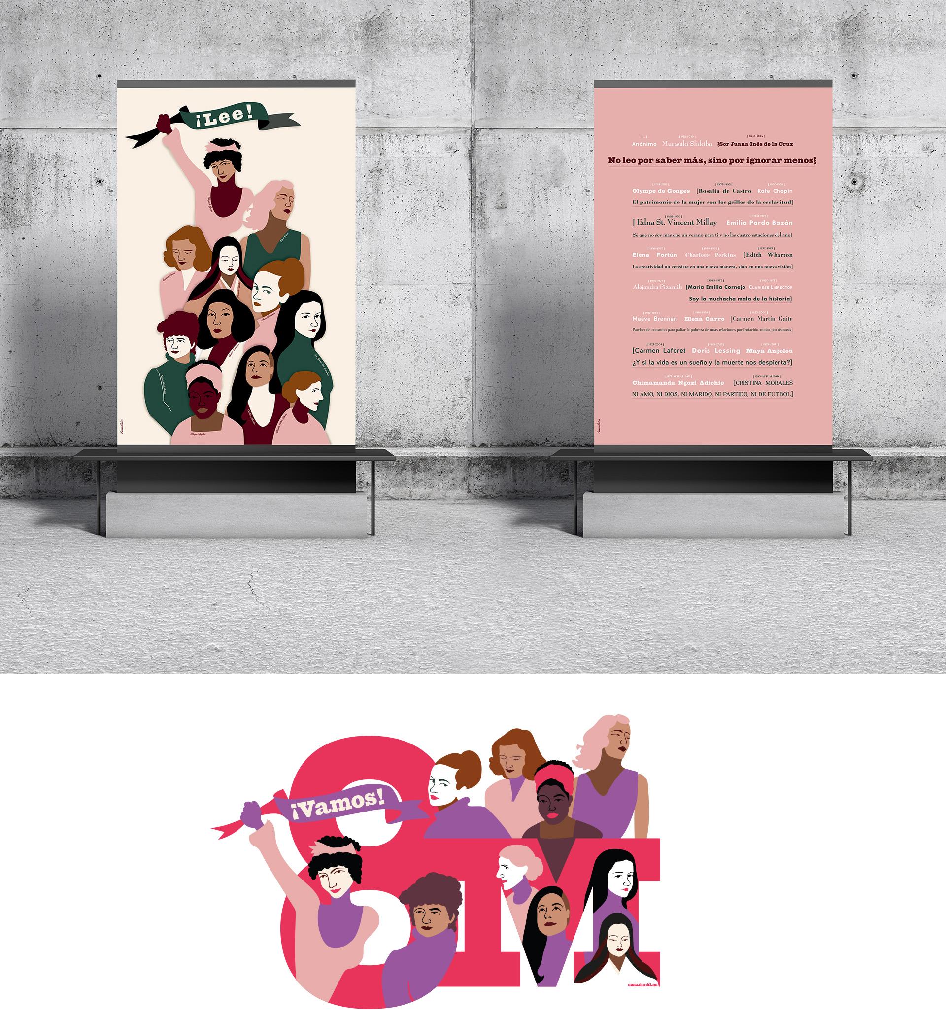 diseño corporativo. Display con cartel de escritoras para bibliotecas